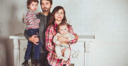 family of four buying life insurance